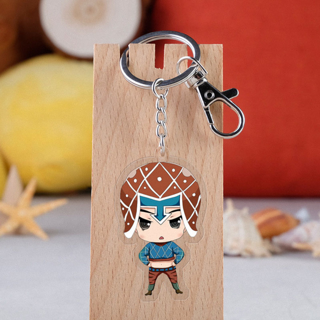 Anime JOJO Bizarre Adventure Keychain Cartoon Figure Acrylic Pendent Keyring 2
