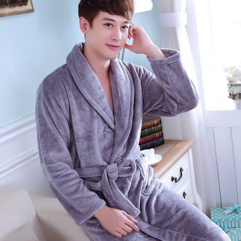 Mode Winter Herren Kimono Robe Herbst Dame Flanell Bad Kleid Yukata Nachthemd Nachtwäsche Sleep Eine Größe
