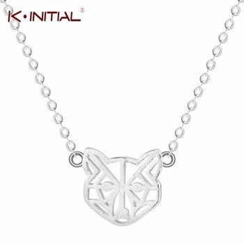 636d22edece3 Kinitial 925 plata esterlina animal feroz Cara Collares Lobo joyería de moda  colgante collar para hombres joyería