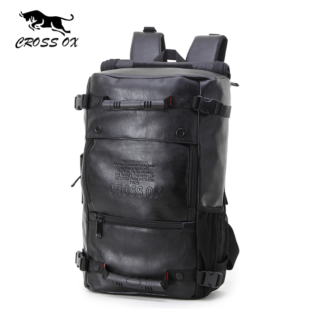 CROSS OX 2017 New Men backpacks Fashion PU Leather backpack Ipad bag Multi-function bags for men big capacity hike bag BK035M