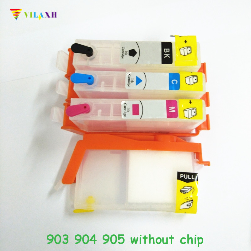 vilaxh <font><b>903</b></font> <font><b>Refillable</b></font> Ink Cartridge Replacement For <font><b>HP</b></font> <font><b>903</b></font> 904 905 xl 903xl OfficeJet Pro 6960 6961 6964 6970 6950 Without chip image