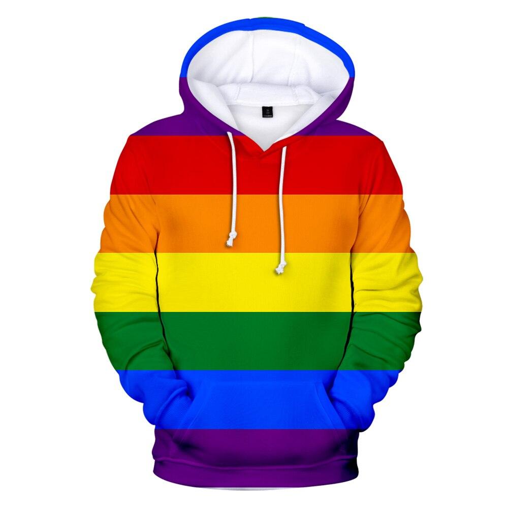 Free LGBT Flag Hoodies Sweatshirt For Lesbian Gay Pride Colorful Rainbow Clothes For Gay Home Decor Gay Friendly LGBT Equity