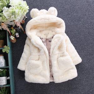 Image 4 - חדש אופנה חורף תינוק בנות בגדי פו פרווה צמר מעיל תחרות חם מעיל חג המולד חליפת שלג 1 8Y תינוק ברדס מעיל הלבשה עליונה