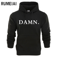 RUMEIAI 2018 New Sweatshirts Tracksuit Men Fashion Hip Hop Hoodies Pullover Sweat Shirt Black DAMN Print