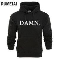 RUMEIAI 2018 New Sweatshirts Tracksuit Men Fashion Hip Hop Hoodies Pullover Sweat Shirt Black DAMN Print