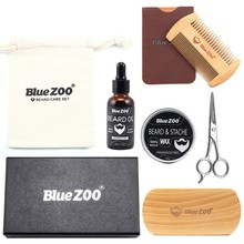 30g 30ml Men Beard Oil Kit With Beard Oil Brush Comb Beard Cream Scissors Grooming Kit Male Beard Care Set