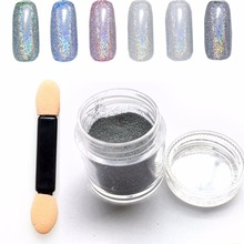 5g/Bottle Laser Silver Holographic Nail Powder Glitter Nail Art Rainbow Chrome Pigments DIY Manicure Charms Nail Art Decorations