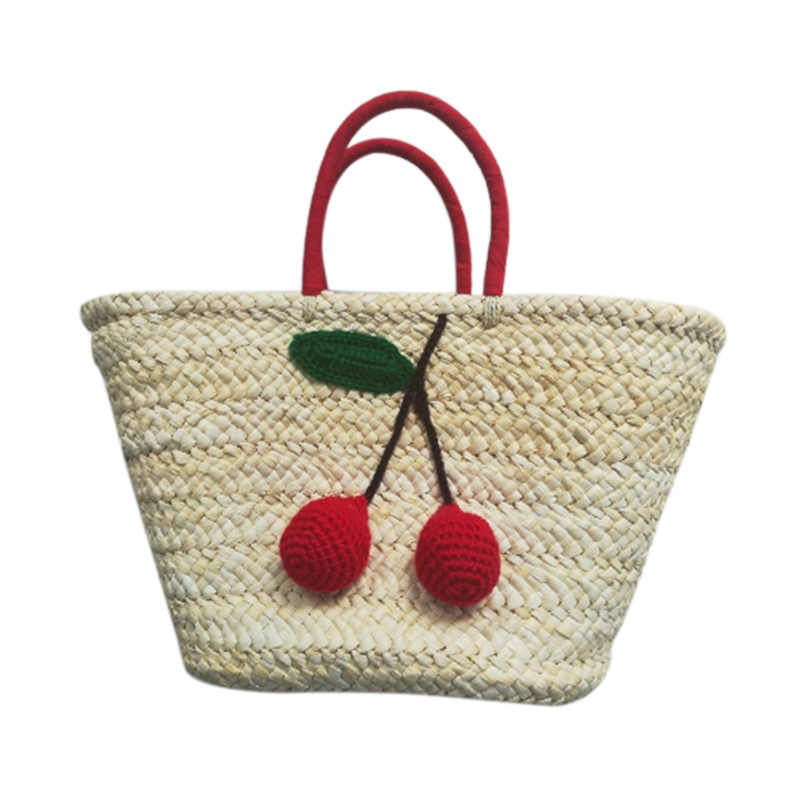 BEAU-Summer Shopping Large Totes Boho Bags Red Cherry Pom Ball Design Beach Bag Handmade Woven Straw Handbags for Women Should