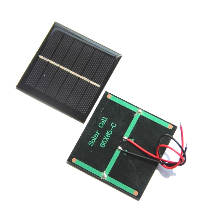 BUHESHUI 0.6W 3V Mini Solar Panel With Cable Epoxy Solar Cell DIY Solar Charger For 3.7 Battery 65*65MM 10pcs/lot Free Shipping