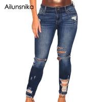 Ailunsnika Jeans Strappati per Le Donne Blu Scuro Denim Distrutti pantaloni di Lunghezza Della Caviglia Skinny Jeans Metà di Vita Delle Donne Dei Jeans Taglia XXL LC78677