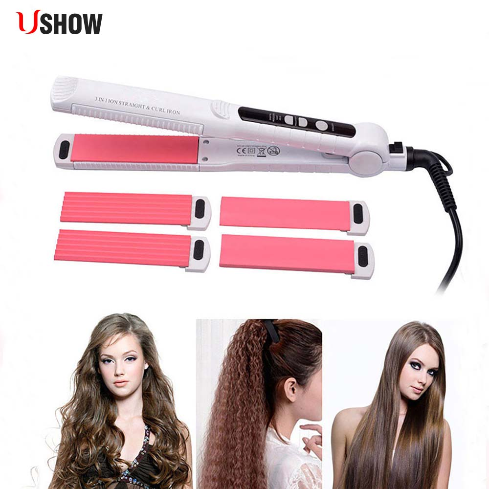 USHOW 3-In-1 Tourmaline Ceramic Hair Curler Straightener + Hair Corn Curling Iron +Hair Straightener Flat Iron Styling Tool 4 in 1 hair flat iron ceramic fast heating hair straightener straightening corn wide wave plate curling hair curler styling tool