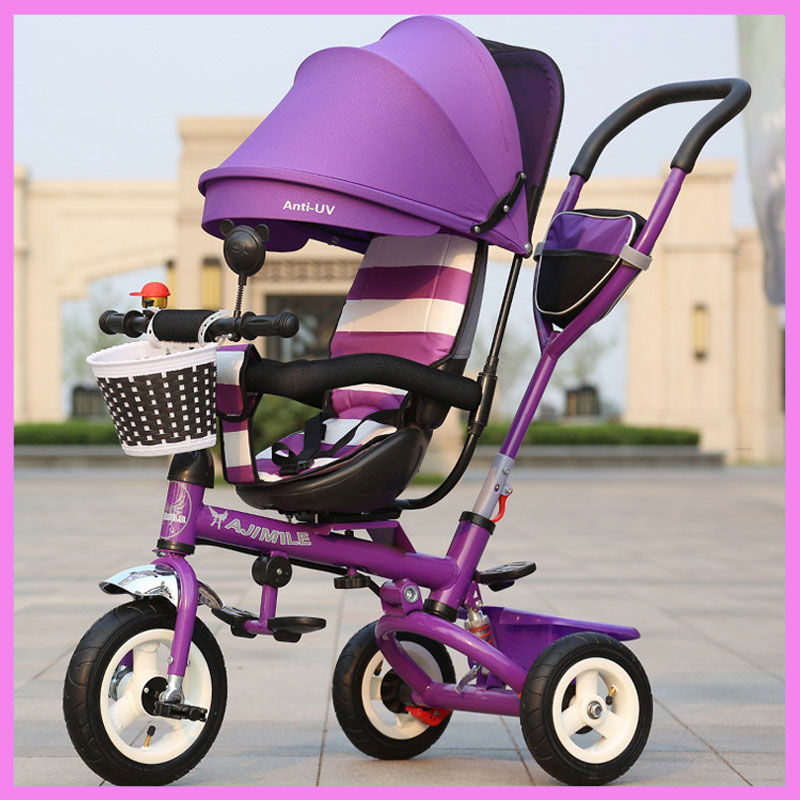 Children Folding Rotating Chair Tricycle Baby Bicycle Stroller Reverse Handle Baby Carriage with 3 Wheels Push Tricycle Bike