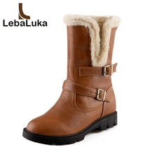 цена на Tuyoki Size 34-39 Women High Heel Mid Calf Boots Two Method Winter Warm Snow Botas Half Short Gladiator Boot Footwear Shoes