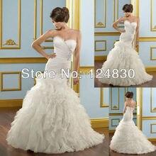 Free Shipping cheap Unique Best-selling Elegant Sweetheart Strapless Lace Up Chapel Train Mermaid Bridal Gown Vestido de Noiva