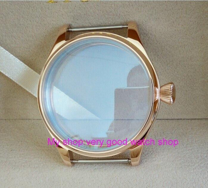 Caixa do Relógio de Aço Inoxidável com Chapeamento de Ouro Movimento do Vento Parnis Rosa Fit 6497 – 6498 Mão Mecânica 05 44 mm 316l