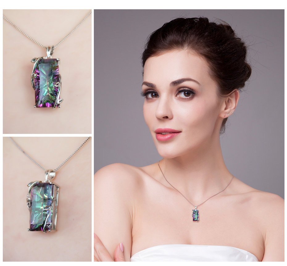 JPalace 16ct Rainbow Mystic Topaz Pendant Necklace 925 Sterling Silver Gemstones Choker Statement Necklace Women Without Chain