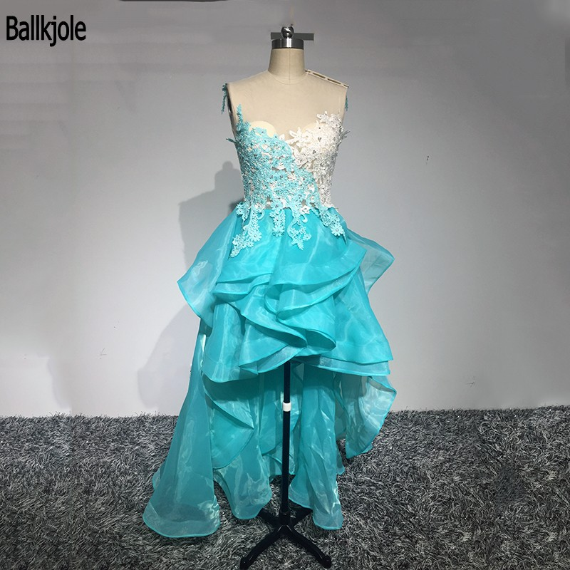 2019 Exquisite Party   Dress   Sexy Hi Lo   Prom     Dress   Lace Applique Beads Organza Party   Dress   With Layered Flouncing
