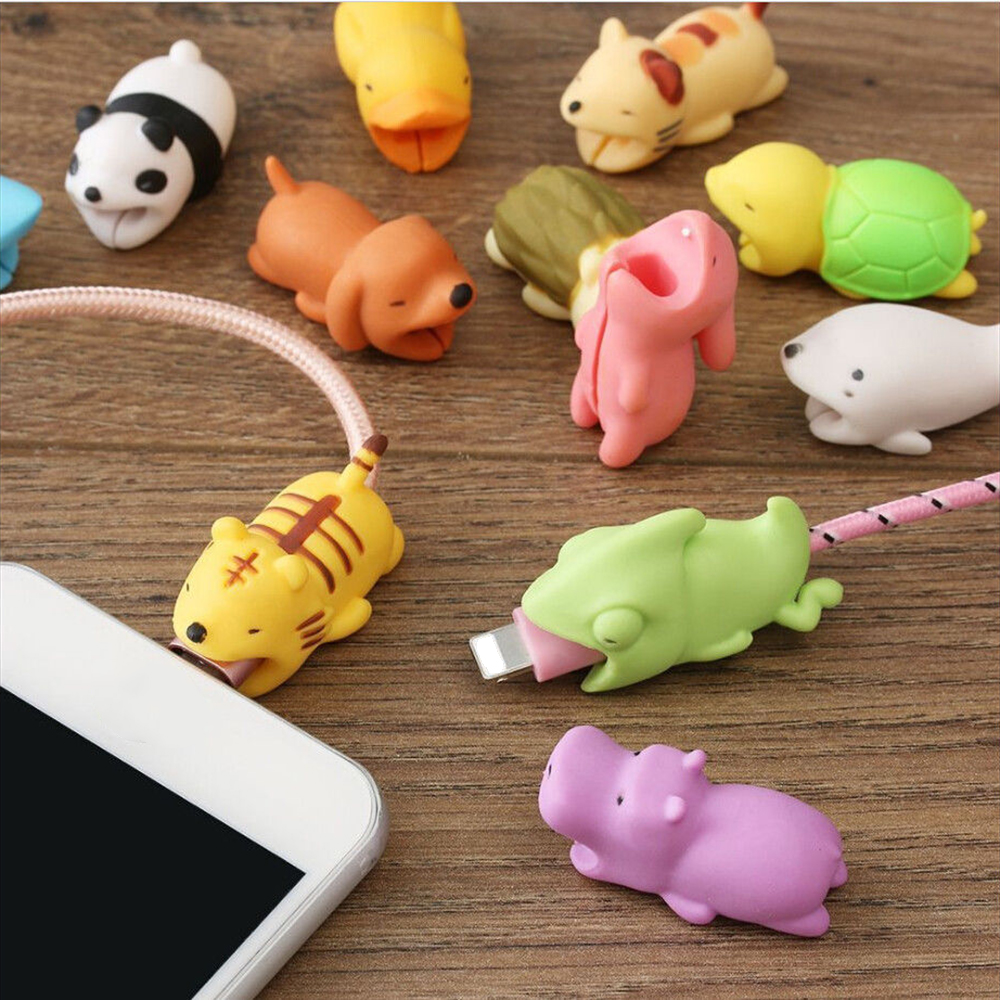 Cute Animal Shape Cable Protector Soft Silicone Anti Break Data Line Protective Cell Computers Mobile Phone Accessories