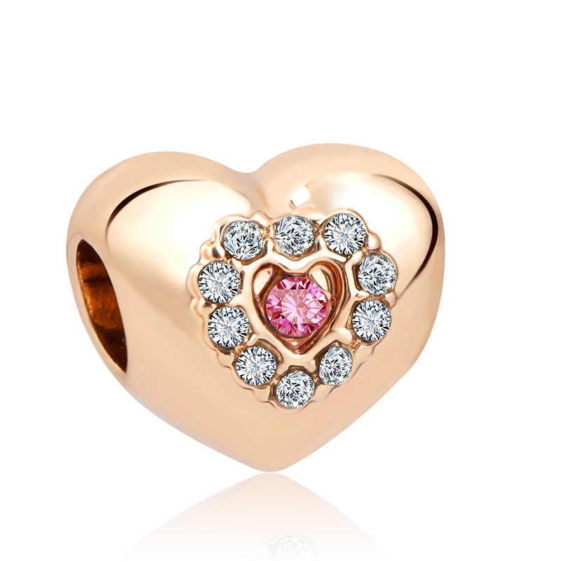 2018 nowy darmowa wysyłka europejski 1pc różowe złoto księżniczka serce korona diy biżuteria znakowanie koralik fit bransoletka typu charm pandora F023