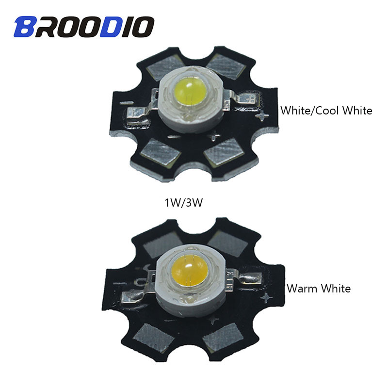 Broodio 20pcs 1W 3W High Power Full Spectrum White Warm white Blue With 20mm Star PCB Led Rgb Aug21