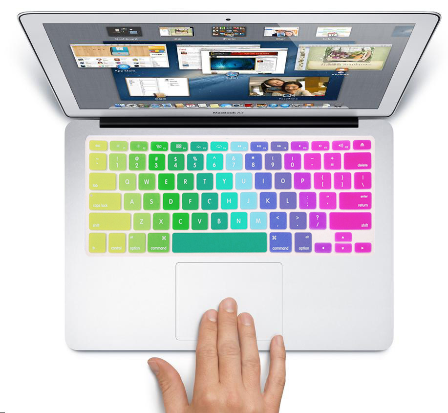 Rainbow Silicone <font><b>keyboard</b></font> cover for Apple <font><b>mac</b></font> book Air 13 Protective <font><b>Stickers</b></font> for <font><b>mac</b></font> book laptop Skin Film image
