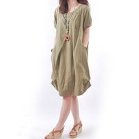Vestido De Festa Women Cotton Linen Dress 2018 Ladies Vintage Short Sleeve O Neck Pockets Loose