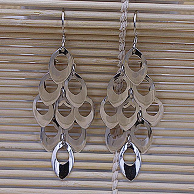 Silver Plated Peacock Tail Long Tassel Dangle Earrings