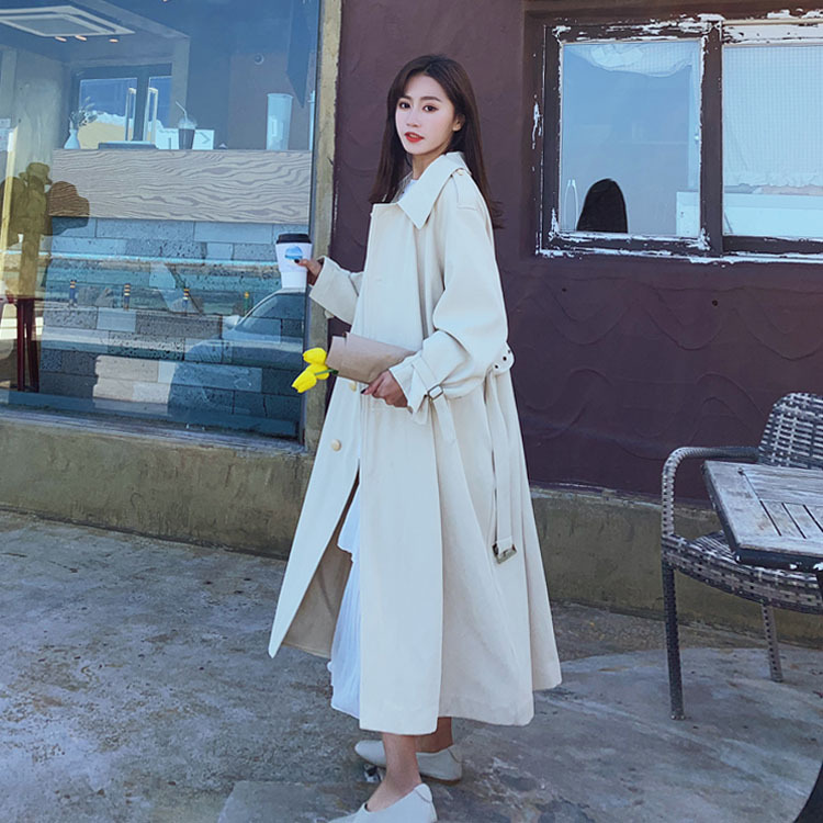Cream color long belt trench coat for women white plus size Korean new fashion female coats sweety waist with belt in Trench from Women 39 s Clothing