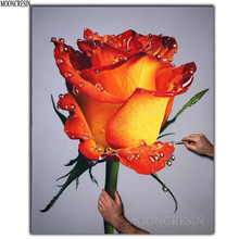 DIY 5D Diamond Embroidery Yellow Rose Flora Painting Cross Stitch Square 3D Mosaic Decoration Rhinestones Flower