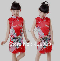 2013 Summer Chinese Satin Tradtional Dress Girl Clothes For Kids Free Shipping