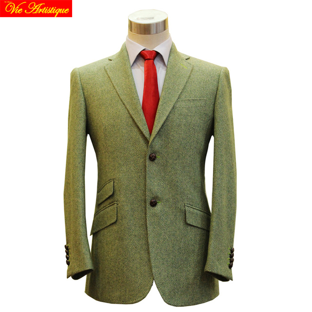 Manner Weste Anzug Jacke Harris Tweed Wolle Anzug Casual Blazer