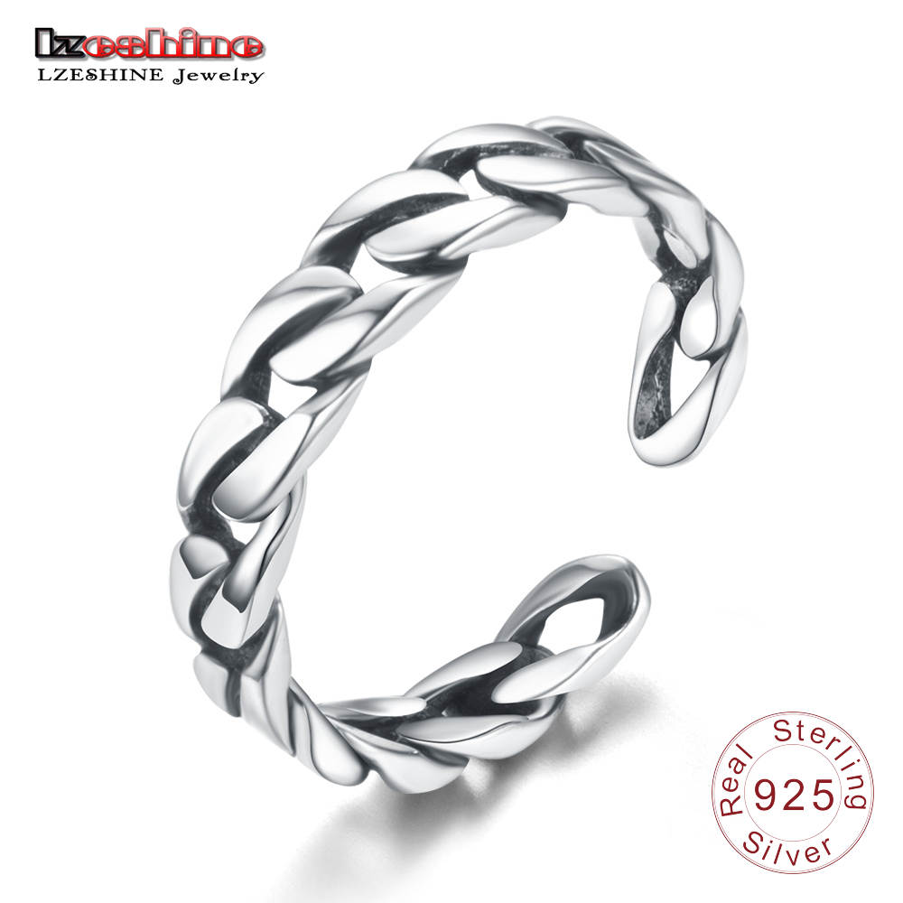 LZESHINE 925 Sterling Silver Braided Finger Ring Punk Style Adjustable Size Twisted Ring Gift Jewelry For Women Anillos