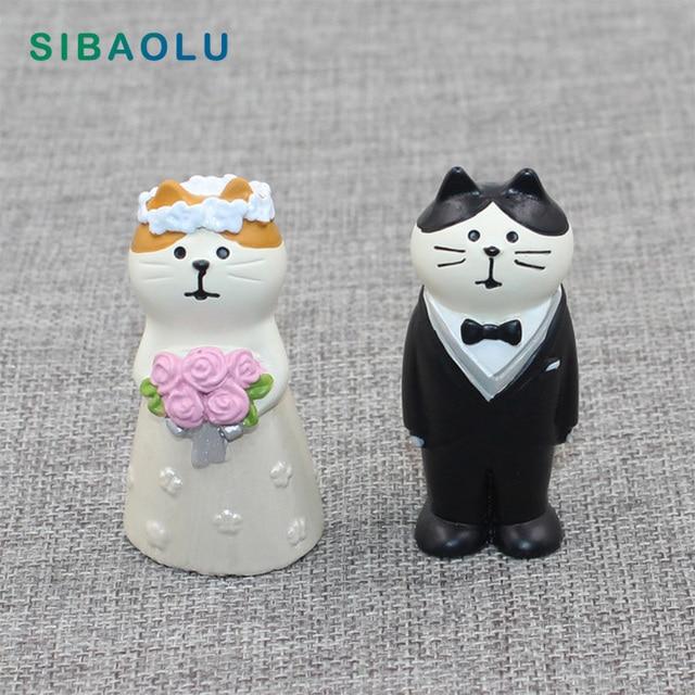 Japan Zakka Decole Cat Miniature figurines Kitten statue Home Decoration Mini Fairy Garden Resin craft toy gift Car Ornaments