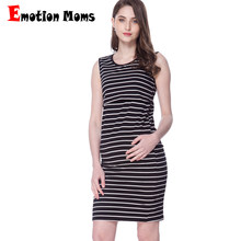 Emotion Moms Maternity Dresses Clothing Striped Nursing Dress for Pregnant Woman Short Summer Breastfeeding Nursing Dress(Hong Kong,China)