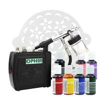 OPHIR Торт Инструменты 0,3 мм Аэрограф Комплект с воздушный компрессор 7 Америка съедобный пигмент и 15x трафареты для украшения торта еда краски
