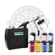 цена на OPHIR Cake Tools 0.3mm Airbrush Kit with Air Compressor 7 America Edible Pigment & 15x Stencils for Cake Decorating Food Paint