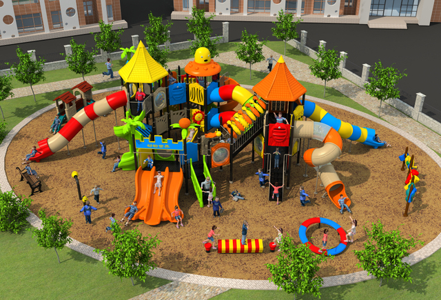Amut Outdoor Play Structure For Park Community Mall Large Combined Playground Slide Kids Ylw Out17920
