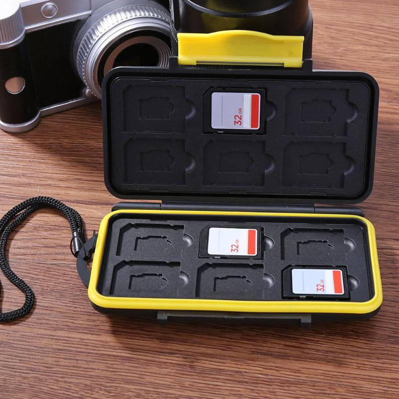 Portable Yellow Memory Card Case All In One Anti-Shock 12SD+12TF Capacity Storage Holder Box Cases For SD/ SDHC/ SDXC/ Micro SD
