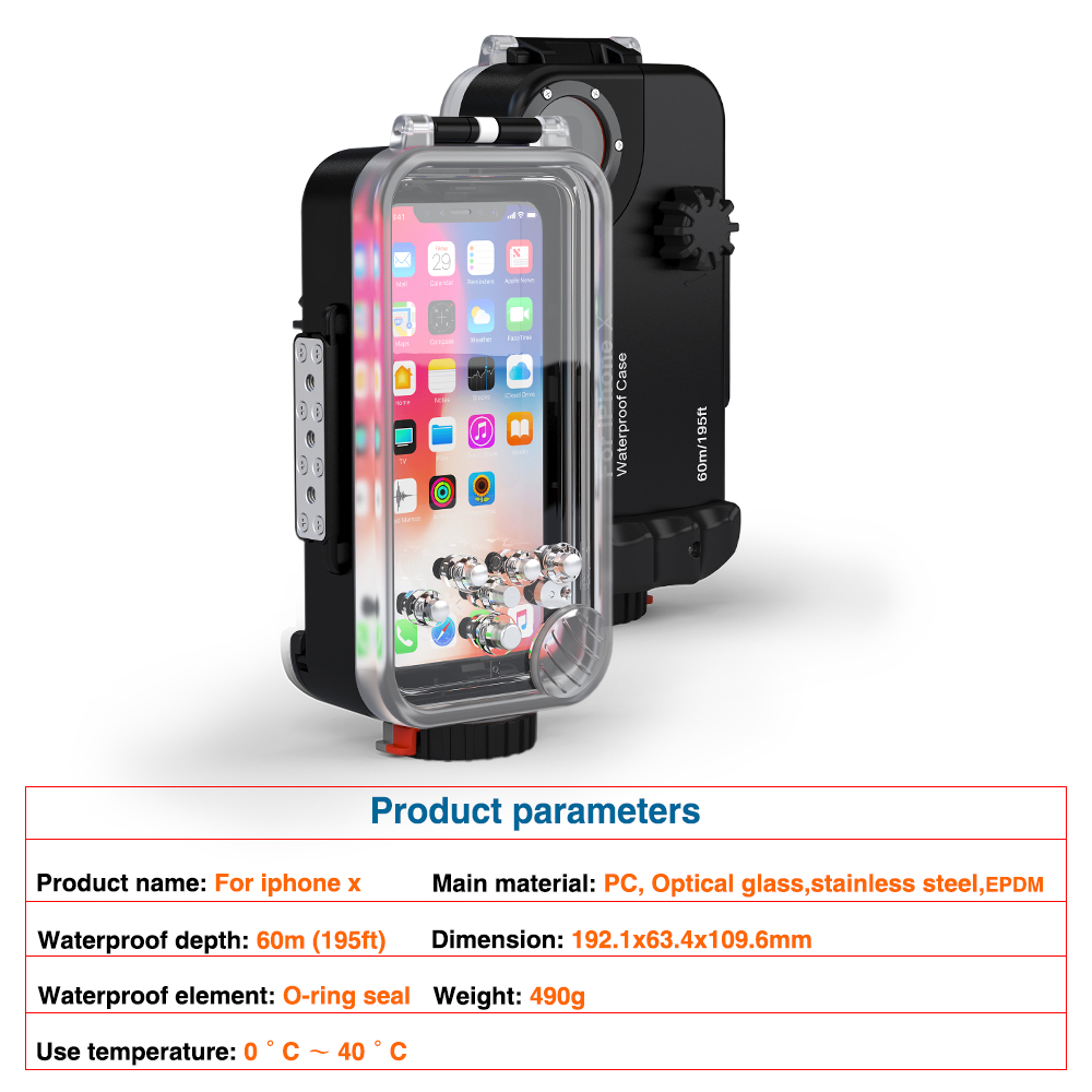 Diving Phone Housing case For iPhone X 60m Professional Waterproof Protective Cover Color Filter Shoot bright Photo Necessary (9)