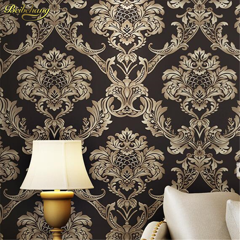 beibehang papel de parede European Damascus non - woven wallpaper 3D fine embossed TV backdrop living room bedroom wall paper beibehang embossed damascus non woven wall paper roll modern designer papel de parede 3d wall covering wallpaper for living room