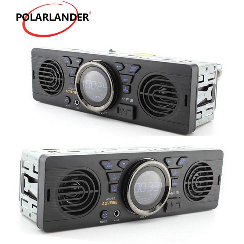 12V Audio Stereo AV252 Radio USB SD built in 2 Speakers FM In dash Bluetooth Player