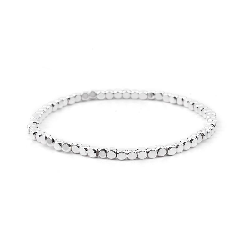 BOJIU многоцветные Кристальные браслеты для женщин золотые акриловые медные бусины розовый белый черный серый женский браслет с кристаллами BC226 - Окраска металла: 6-Silver