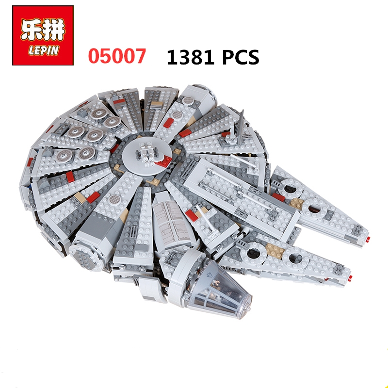 Lepin 05007 1381PCS Star Wars Series Force Awakening Millennium Bricks Children's Educational Toys Compatible with Legoings [yamala] star wars 7 1381pcs millennium falcon force awakening building blocks toys for children toys compatible with lepin