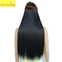Xi.rocks Straight 5 Clip Hair Extensions Սինթետիկ Extensiones 25 Գույն Կանանց Մազերի կտոր 60 սմ հոլովակներ Hairpiece Extension ins