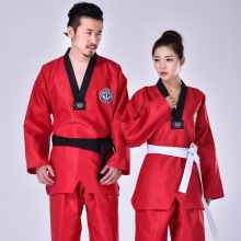 3 Colors Taekwondo Uniform Clothes Martial Arts Red Suite Kids Adult Student Tae kwon do dobok approve Black V-Neck clothing F цена 2017
