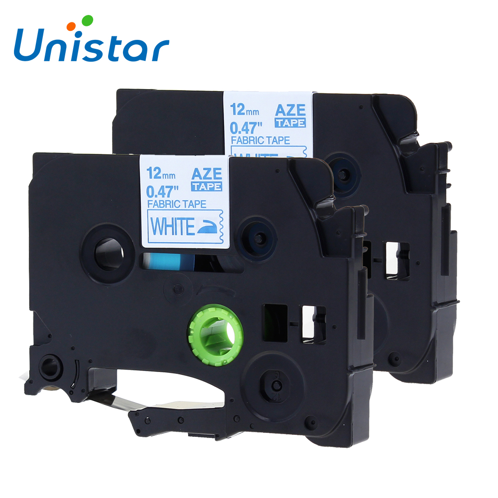 где купить Unistar 2pcs compatible Brother P-touch Tape 12mm TZe-FA3 TZe FA3 Navy Blue on White Fabric Iron-on Labels for Brother TZ tape по лучшей цене
