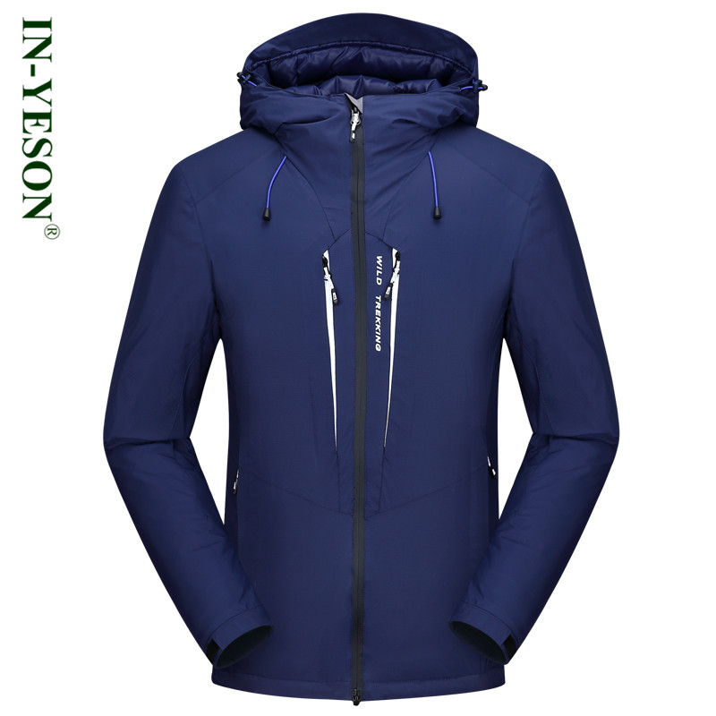 2017 New Design IN-YESON Hooded Mens Down Jacket Solid Brand Thick Windproof Warm Winter Down Coat Male Outerwear