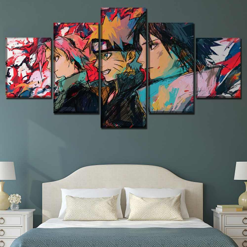 5 Panels Anime Naruto Graffiti Naruto Uzumaki Sakura Haruno Sasuke Uchiha Poster Home Decor Wall Art Canvas Print Painting