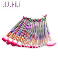 New Women Professional Beauty Makeup Brushes Sets GUJHUI 15Pcs Mermaid Makeup Brush Advanced Beauty Cosmetic Concealer