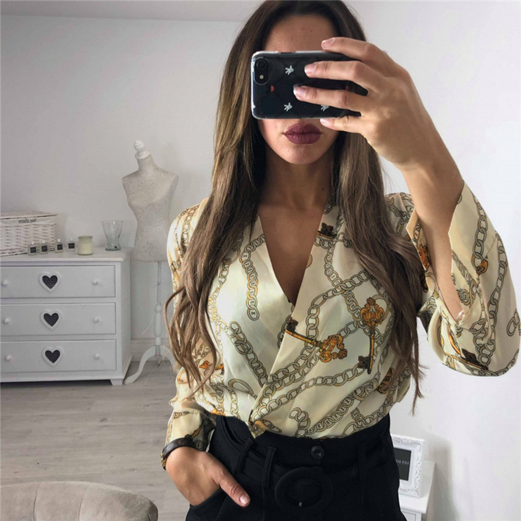 Sexy Hollow Back Chain Print Bodysuits Deep V-Neck Silk Bodysuit Women Tops Long Sleeve   Jumpsuit   Rompers Office Ladies Overalls